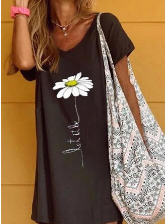 Impresión/Floral Manga Corta Tendencia Sobre la Rodilla Casual/Vacaciones Camiseta/Túnica Vestidos