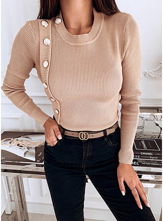 Solid Round Neck Casual Tight Sweaters
