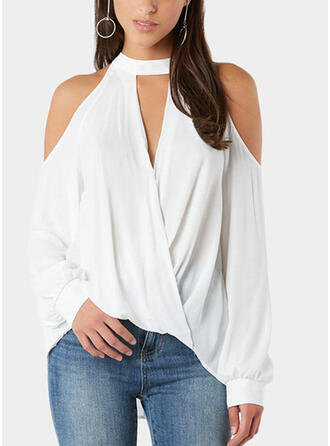 Solid Stand collar Lantern Sleeve Long Sleeves Casual T-shirts