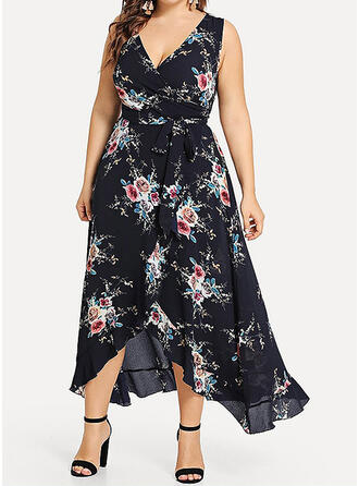 Print/Floral Sleeveless A-line Asymmetrical Casual/Elegant/Plus Size Dresses