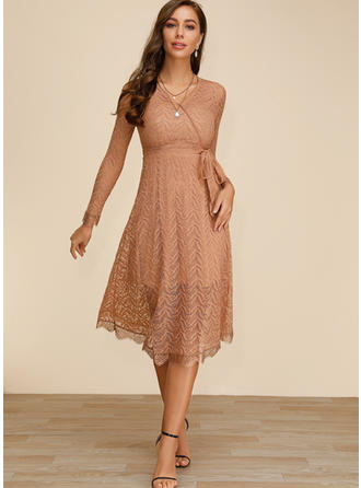 Lace/Solid Long Sleeves A-line Midi Casual/Elegant Dresses