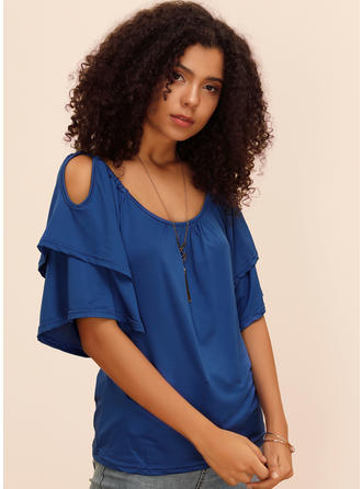 Solid Round Neck Flare Sleeve 1/2 Sleeves Casual Blouses