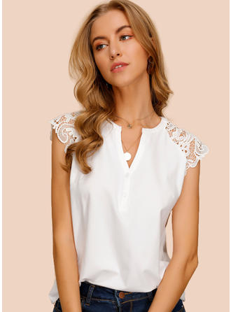 Solid Lace V Neck Cap Sleeve Button Up Casual Elegant Blouses
