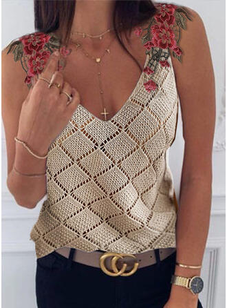 Embroidery V-Neck Sleeveless Casual Tank Tops