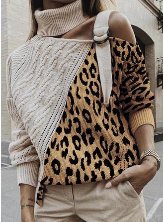 Color Block Animal Print Turtleneck One Shoulder Sweaters