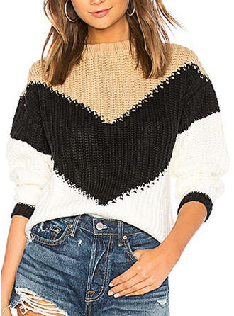 Color Block Chunky knit One Shoulder Sweaters