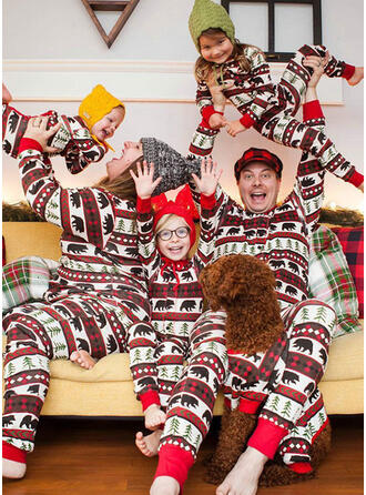 Bear Impressão Família Combinando Natal Pijama