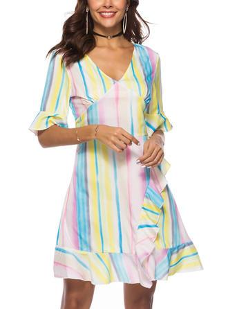 Striped V-neck Above Knee A-line Dress