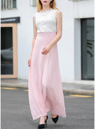 Polyester With Color-block Maxi Dress