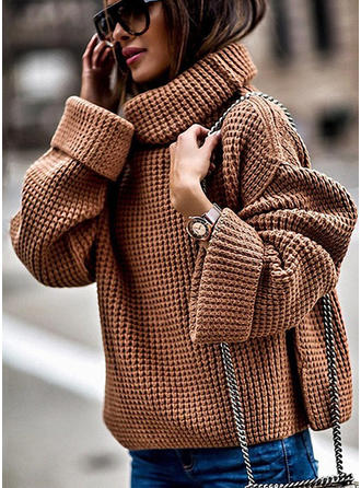 Plain Waffle Knit Chunky knit Turtleneck Sweaters