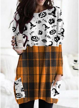 halloween Impresión Tela escocesa Cuello Redondo Manga Larga Sudadera