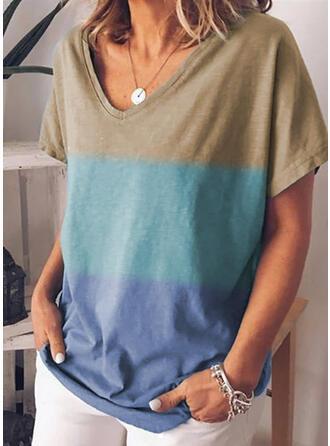 Couleur De Bloc Col V Manches Courtes Décontractée T-shirts