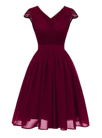 Lace V-neck Knee Length A-line Dress