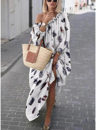 Print Long Sleeves Shift Casual/Vacation Midi Dresses
