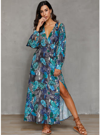 Print Long Sleeves A-line Maxi Casual/Vacation Dresses