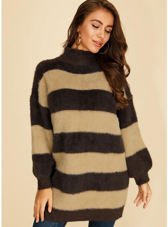 Color Block Striped Chunky knit Turtleneck Sweaters