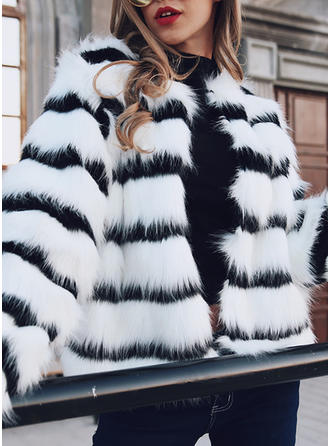 Faux Fur Long Sleeves Striped Faux Fur Coats