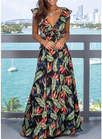 Print Sleeveless A-line Sexy/Party Maxi Dresses