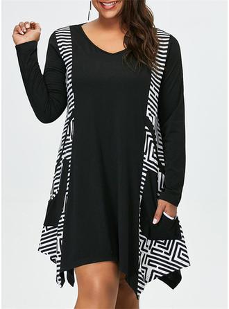Solid Striped V-neck Above Knee Shift Dress