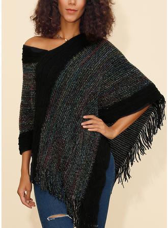 Print Ribbed Chunky knit Cold Shoulder Sweaters