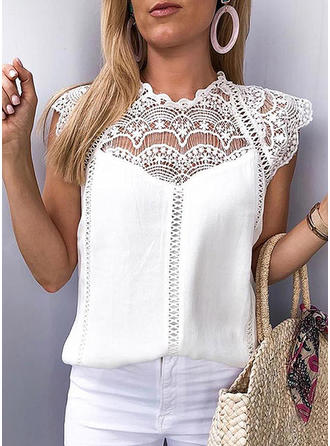Lace Round Neck Cap Sleeve Casual Elegant Blouses