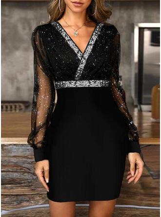 Sequins/Solid Long Sleeves/Lantern Sleeve Bodycon Above Knee Little Black/Party/Elegant Dresses