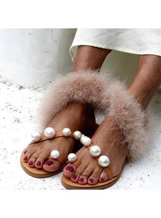 Mulheres PU Sem salto Sandálias Sem salto com Pérola sapatos