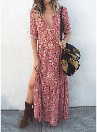Print 1/2 Sleeves Shift Maxi Casual/Vacation Dresses