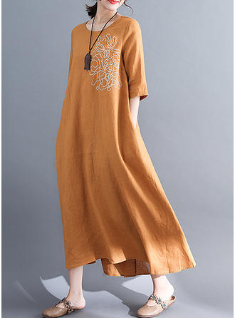 Embroidery 1/2 Sleeves Shift Asymmetrical Casual Dresses