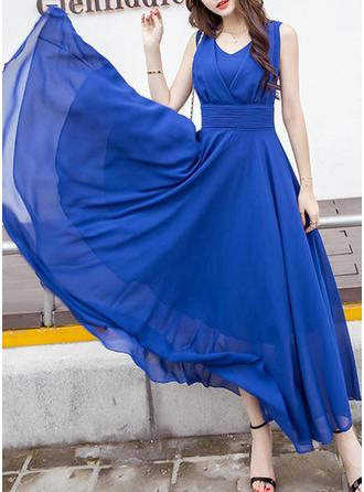 Solidny Litera V Maxi Sukienka Trapezowa