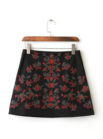 Cotton Embroidery Mini A-Line Skirts