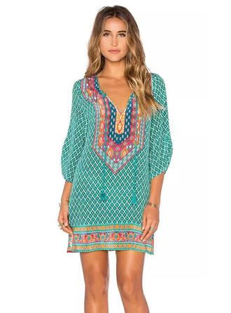 Polyester With Print Mini Dress