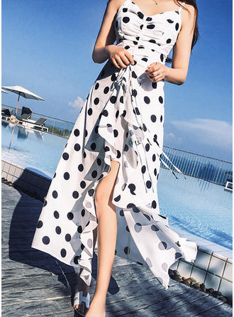 PolkaDot Slit Spaghetti Straps Asymmetrical Sheath Dress