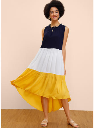 Color-block/Patchwork Sleeveless Shift Asymmetrical Casual Dresses