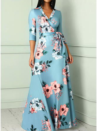 Print/Floral 1/2 Sleeves A-line Maxi Party Dresses