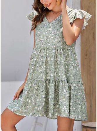 Print/Floral Cap Sleeve Shift Above Knee Casual/Boho Dresses