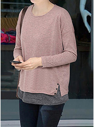 Cotton Round Neck Patchwork Long Sleeves Casual Blouses