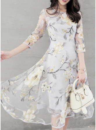 Organza With Print Asymmetrical Dress