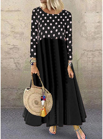 PolkaDot/Patchwork Long Sleeves Shift Maxi Casual Dresses