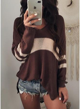 Polyester V-neck Color Block Sweater