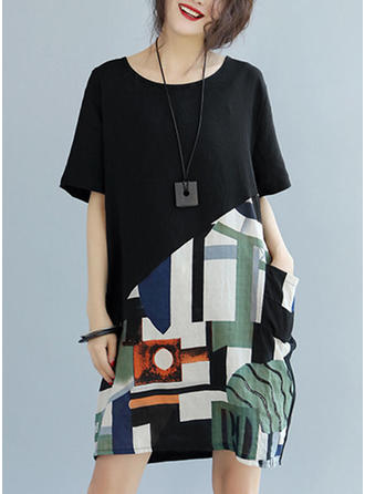 Print/Patchwork 1/2 Sleeves Shift Above Knee Casual Dresses