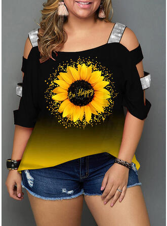 Sunflower Print Print Cold Shoulder 3/4 Sleeves Casual Plus Size Blouses