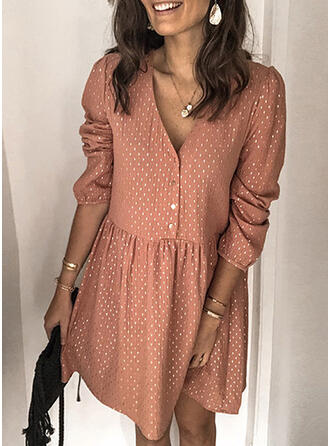 PolkaDot Long Sleeves/Puff Sleeves Shift Knee Length Casual Dresses