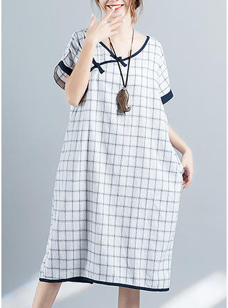 Plaid Short Sleeves Shift Midi Casual Dresses