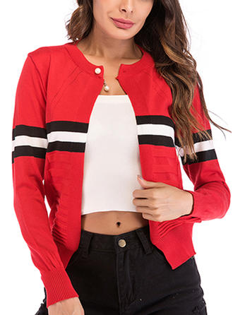 Cotton Long Sleeves Color Block Ribbed