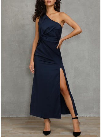 Solid Sleeveless Sheath Party Maxi Dresses