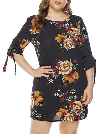 Print/Floral 3/4 Sleeves Sheath Above Knee Casual/Plus Size Dresses
