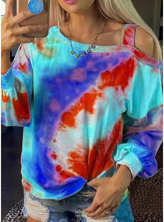 Tie dye Farve One Shoulder Lange ærmer Sweatshirts
