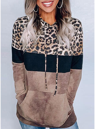Print Leopard Hoodie Long Sleeves Casual Blouses