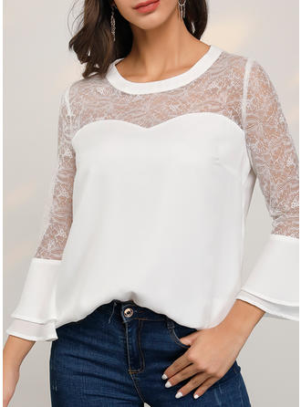 Solid Lace Round Neck Flare Sleeve 3/4 Sleeves Casual Elegant Blouses